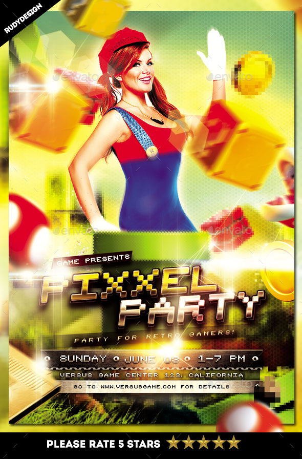 Pixel Retro Video Games Party Flyer Template