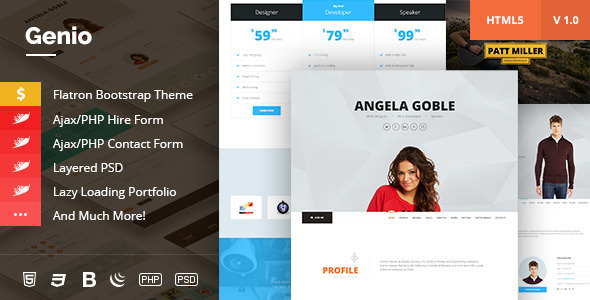 Genio. OnePage Resume, Personal Portfolio Template - Resume / CV Specialty Pages