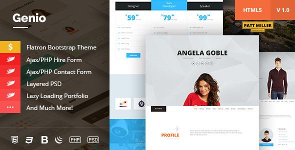 ThemeForest Genio OnePage Resume Personal Portfolio Template 10155252
