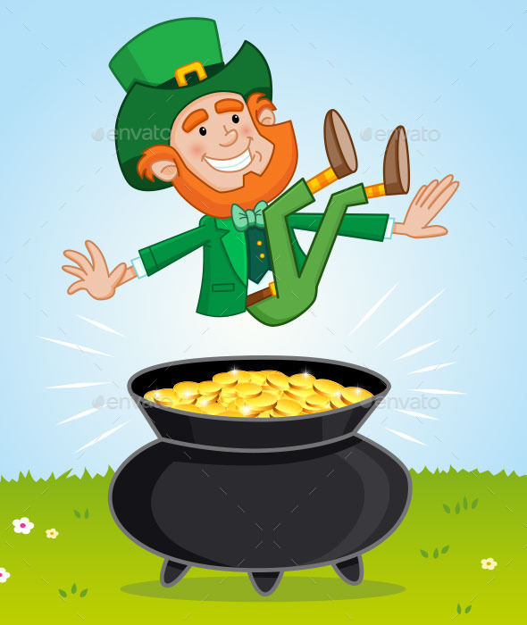 GraphicRiver Leprechaun and His Pot of Gold 10216765