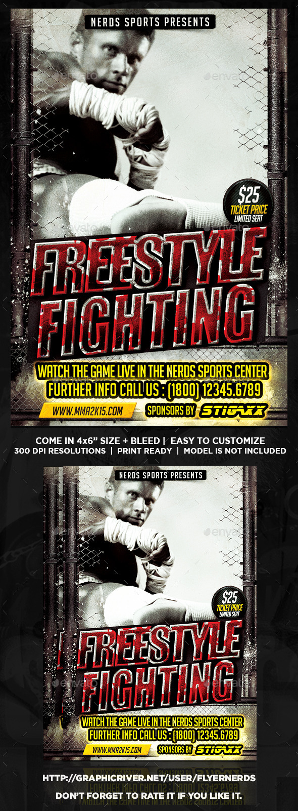 GraphicRiver Freestyle Fighting Championships Sports Flyer 10172964