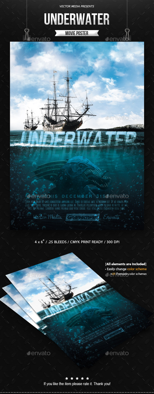 GraphicRiver Underwater Movie Poster 10169892