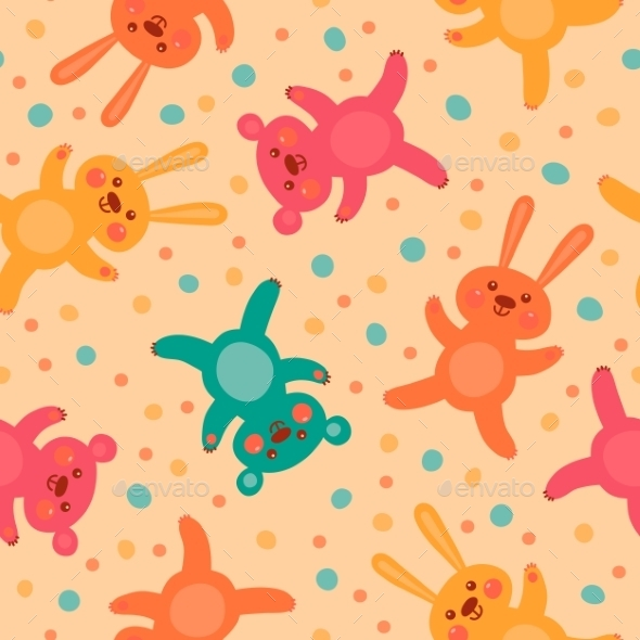 Kids Seamless Pattern with Bears and Hares