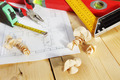 Various working tools lie on the wooden workbench - PhotoDune Item for Sale