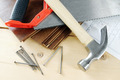 Carpenter working tools on the wooden workbench - PhotoDune Item for Sale