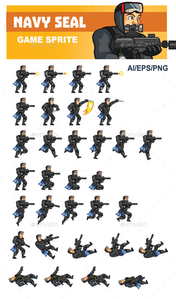 GraphicRiver Navy Seal Game Sprite 10218640
