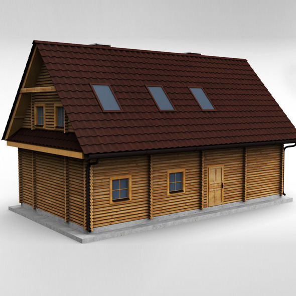 3DOcean Wooden House High poly 10219947