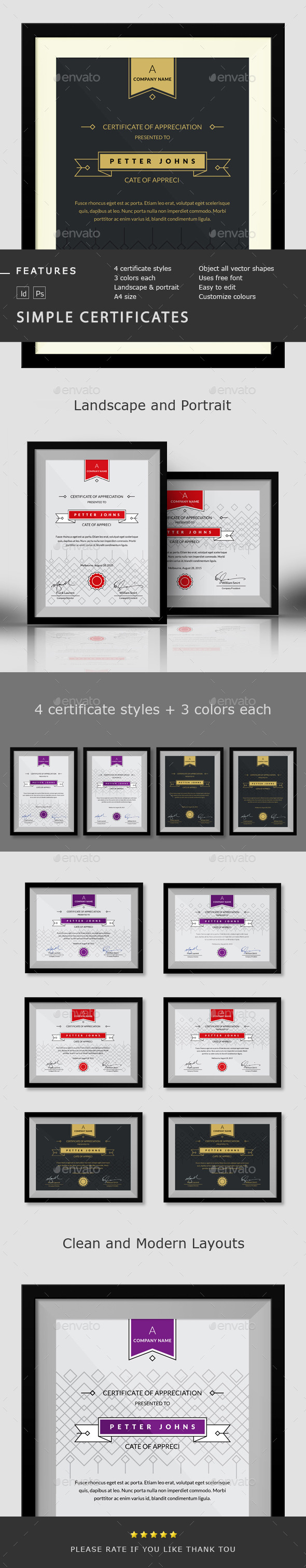 GraphicRiver Simple Certificates Template 10221588