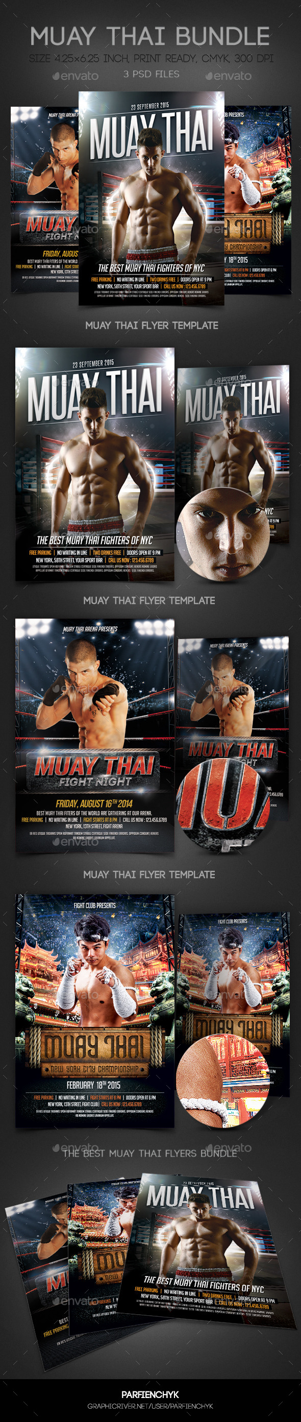 GraphicRiver Muay Thai Flyers Bundle 10222042