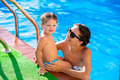 Happy mother and baby daughter swimming pool - PhotoDune Item for Sale