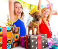 girl friends party dancing with presents and puppy - PhotoDune Item for Sale