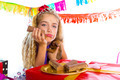 Bored gesture blond kid girl in party with puppy - PhotoDune Item for Sale
