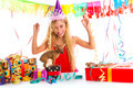 Party blond kid girl happy with puppy present - PhotoDune Item for Sale