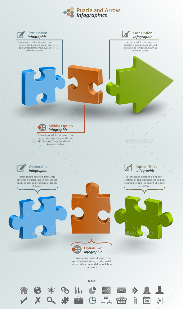 GraphicRiver Arrow Puzzle Infographic Background 9206946
