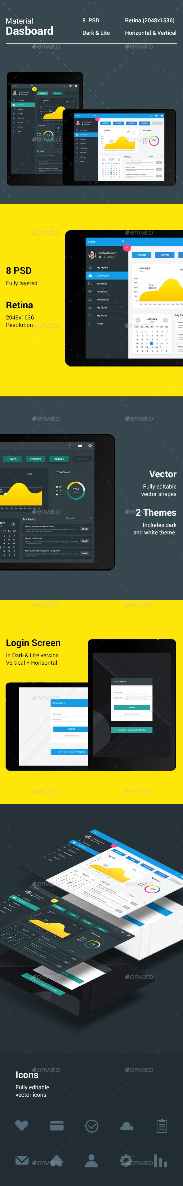 GraphicRiver Material Dashboard 10185038
