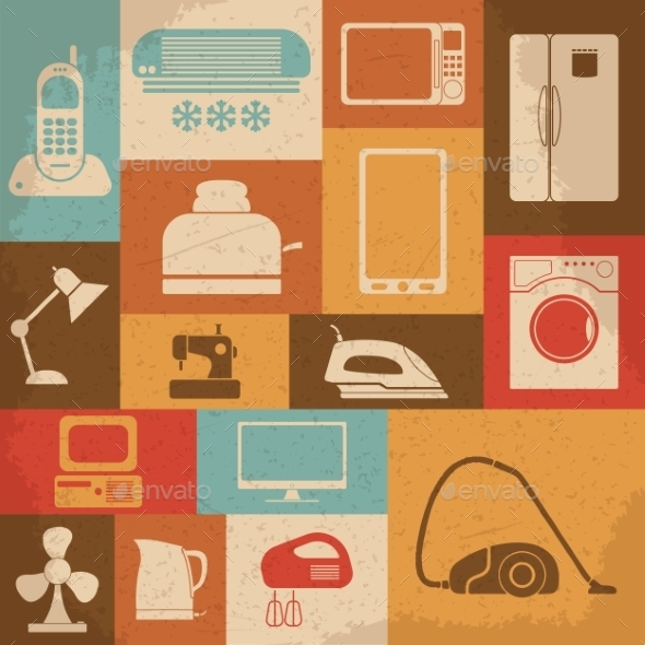 GraphicRiver Retro Home Appliances Icons 10223012