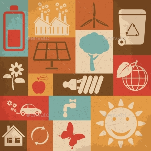 GraphicRiver Retro Ecology Icon Set 10223030