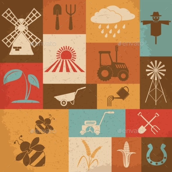 GraphicRiver Farming Retro Icons 10223063
