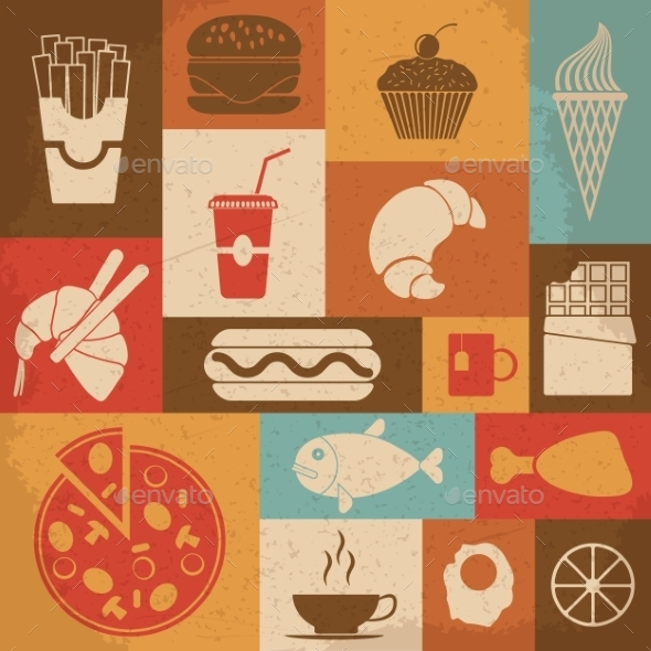 GraphicRiver Retro Food Icons 10223079