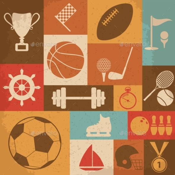 GraphicRiver Retro Sports Icons 10223119