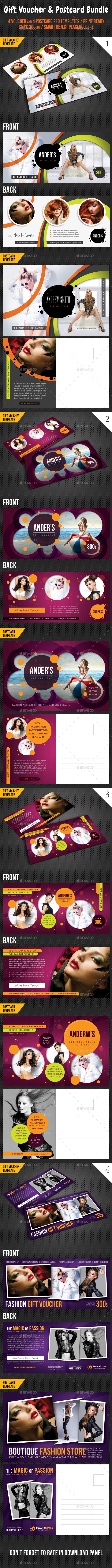 GraphicRiver 8 in 1 Fashion Gift Voucher and Postcard Bundle 10224341