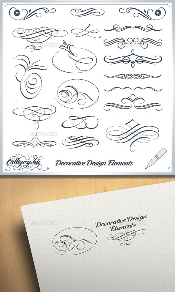 GraphicRiver Calligraphic and Decorative Design Elements 10224417