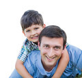 Happy Father and Son Piggyback Isolated on a White Background. - PhotoDune Item for Sale