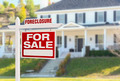 Foreclosure Home For Sale Real Estate Sign in Front of Beautiful Majestic House. - PhotoDune Item for Sale
