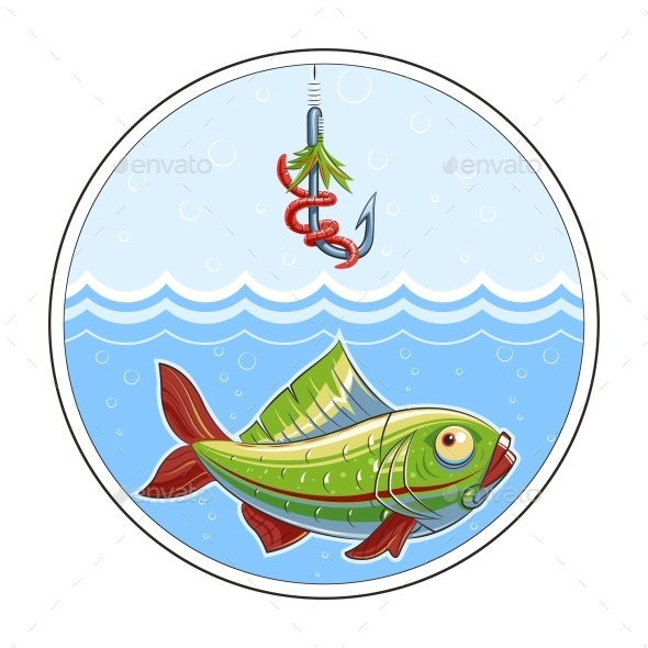 Fishing Fish in Water and Fishhook
