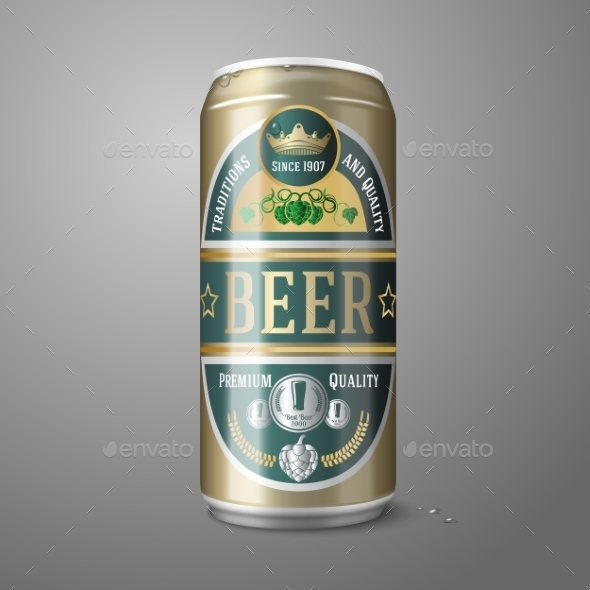 GraphicRiver Golden Beer Can with Label 10225625