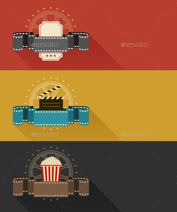 Retro Movie Theater Posters Flat Design