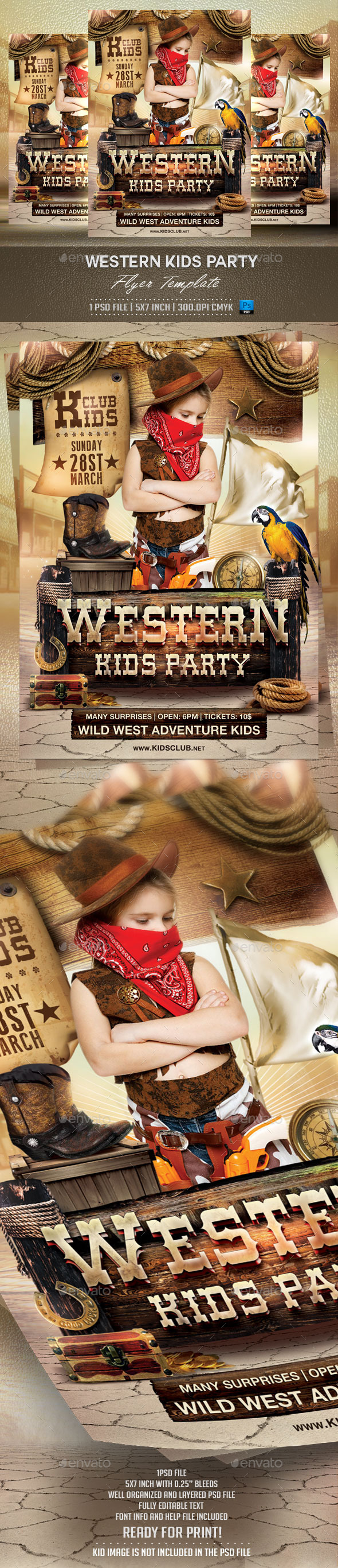 GraphicRiver Western Kids Party Flyer Template 10227482