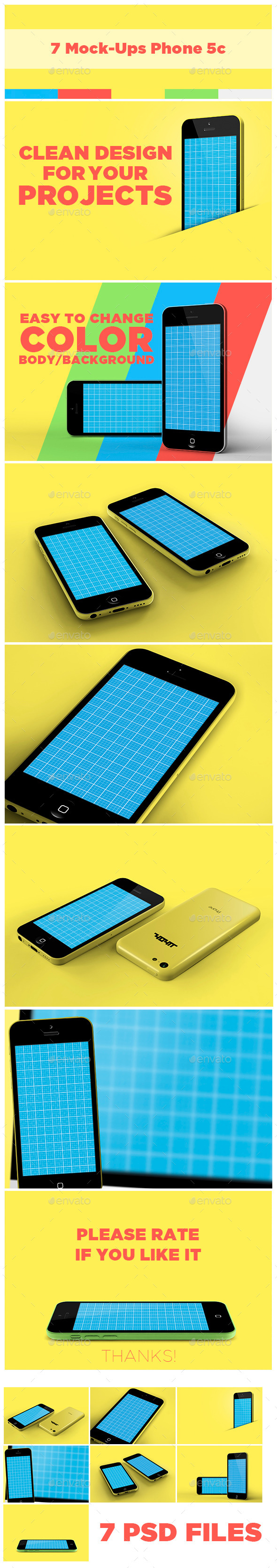 GraphicRiver 7 Mock-Ups Phone 5c 10227507