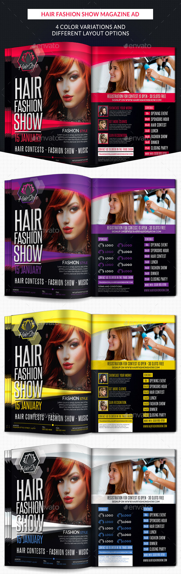 GraphicRiver Hair Fashion Show Promotion Magazine Ad 10227854