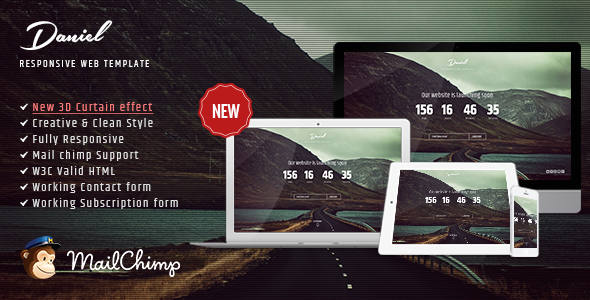 ThemeForest Daniel Responsive Under Construction Landing Page 10228763