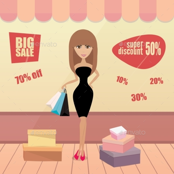 GraphicRiver Girl or Woman Shopping 10229379