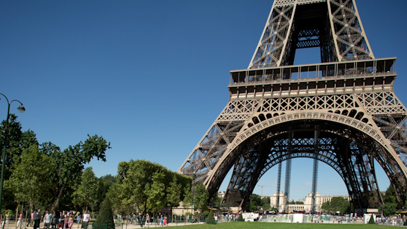Closeup O The Eiffel Tower In Paris France 15
