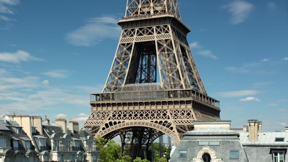 Closeup O The Eiffel Tower In Paris France 18