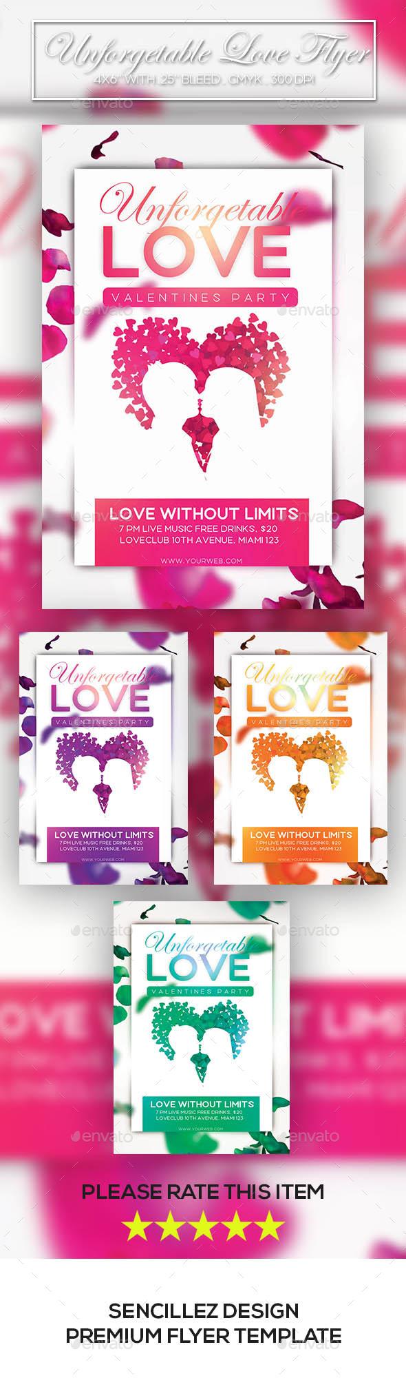 GraphicRiver Unforgettable Love Flyer 10230055