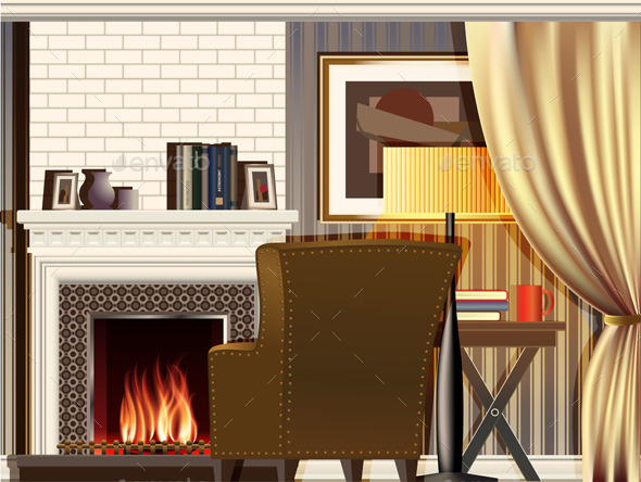 GraphicRiver Room with Fireplace 10230313