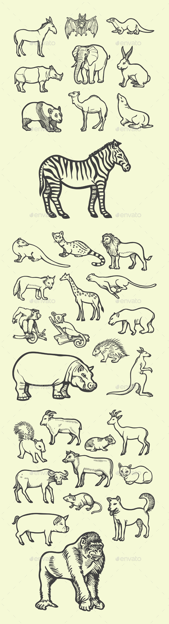 GraphicRiver Animal Sketches 10230748