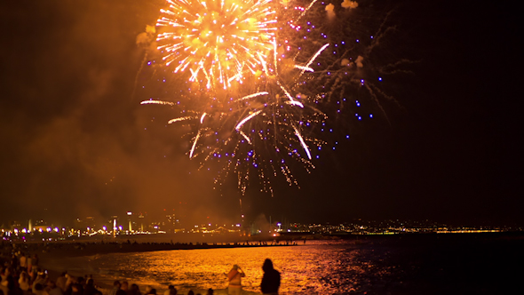 Fireworks Barcelona Beach 6