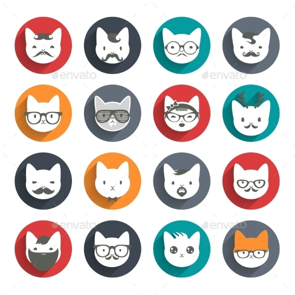 Stylized Animal Avatar Set of Cats