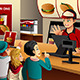 Kids Ordering Food at a Restaurant - GraphicRiver Item for Sale