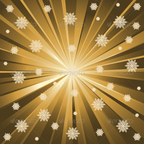 Gold Background And Snowflakes