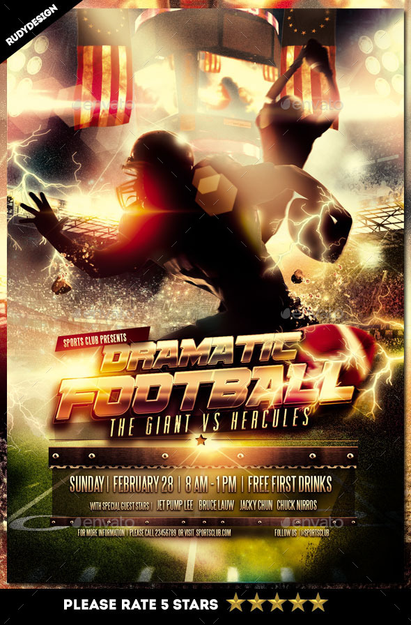 GraphicRiver Dramatic American Football Flyer Template 10231602