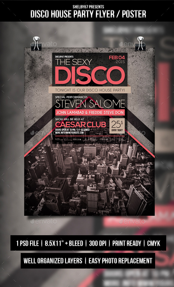 GraphicRiver Disco House Party Flyer Poster 10231683