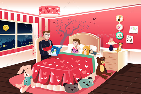GraphicRiver Father Reading a Bedtime Story to His Daughter 10231790
