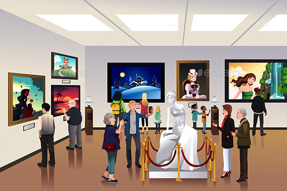 GraphicRiver People Inside a Museum 10231817