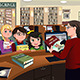 Kids Checking Out Books in the Library - GraphicRiver Item for Sale